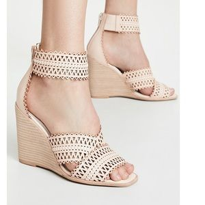 NEW Jeffrey Campbell Nude Perforated Wedge Sandal